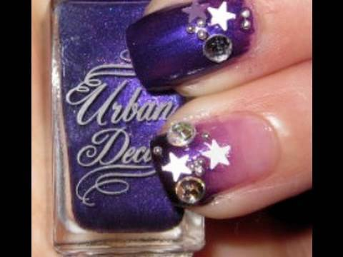 New Year Nails 2010 Purple Nail Tutorial Video