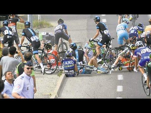 Tour De France 2014 Stage 10 Contador Crashes reaction.