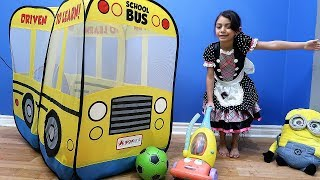 Kids Pretend Play with Toys and School Bus Playhouse !