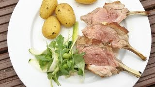Lamb rack with baby new potatoes and zucchini salad