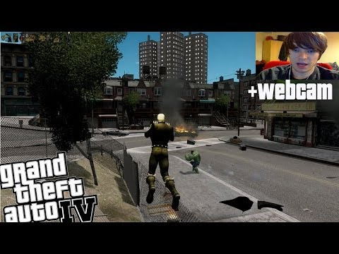 GTA IV Ghost Rider VS Incredible Hulk + Webcam