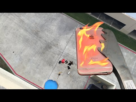 Can Flaming iPhone 6s Survive 100 FT Drop into Kiddie Pool of Water?
