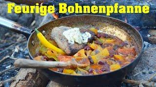 Feurige Bohnenpfanne mit selbstgebackenem Fladenbrot (Grundrezept mit Kochanleitung)| Wanderfalke