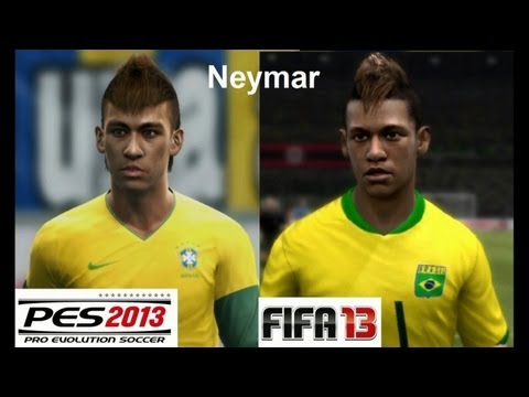PES 2013 vs FIFA 13 Face Comparison BRASIL (National Team) Neymar, Ronaldinho