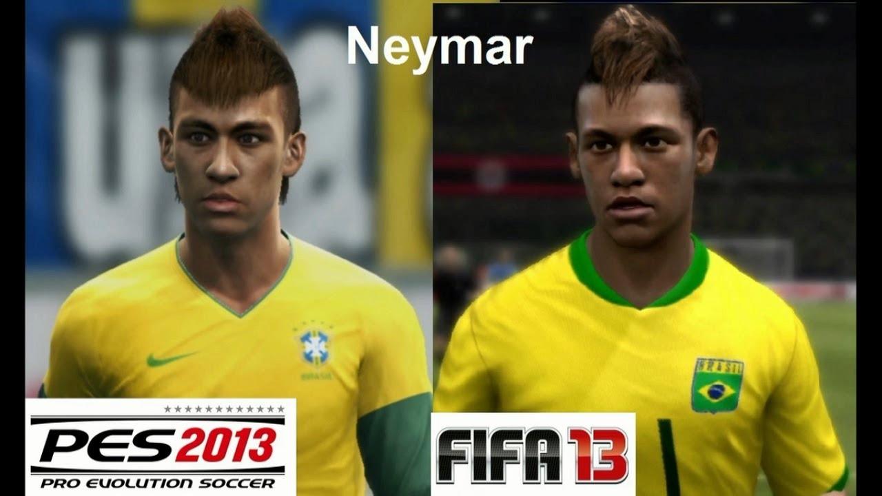 Neymar Vs Ronaldinho 2012 PES 2013 vs FIFA 13 Face