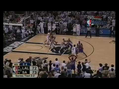 Skip to 1:30 to see Fisher's Shot Derek Fisher's Historic Game Winning shot. With Tim Duncan and Kobe Bryant's clutch shots as well.