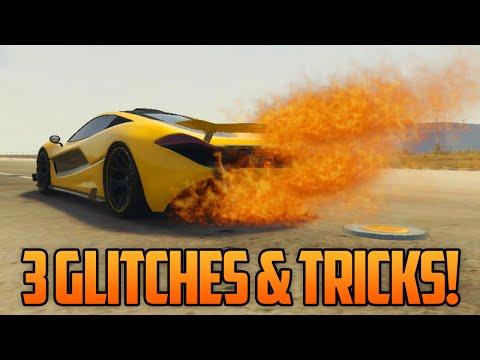 GTA 5 Online - 3 NEW GLITCHES & TRICKS (Rare Car Customization, Flaming Car Glitch & T-Shirt Glitch)