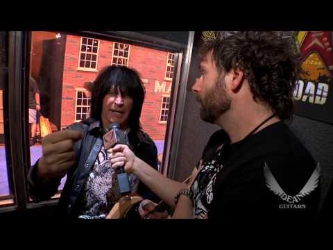 """Michael Angelo Batio rockin' his Dean Guitars USA """"Gloss Natural"""" MAB at the 2013 NAMM."""