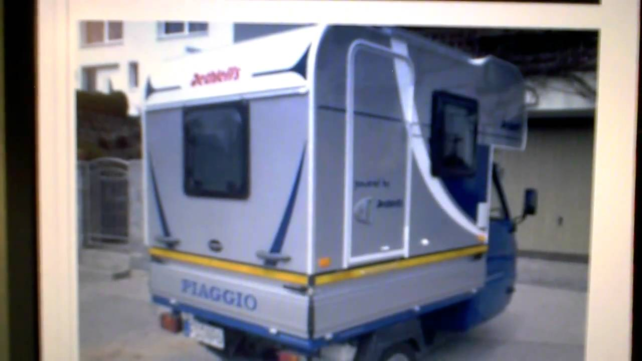 vespa piaggio ape moca camper unit dethleffs youtube. Black Bedroom Furniture Sets. Home Design Ideas