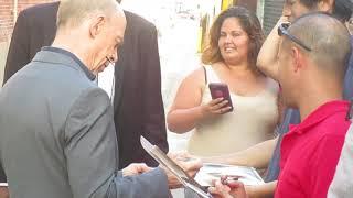 Academy Award winner J. K. Simmons signing autographs outside the Jimmy Kimmel Live studio