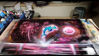 Miami dolphins spray paint art