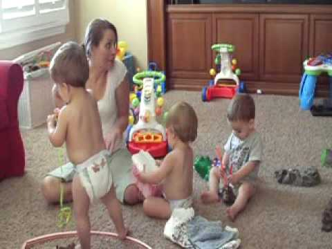 Triplet Boys Singing Kissing and Having Fun at Home