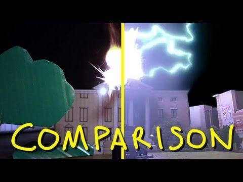 Back To The Future BTTF - Clock Tower Scene - Homemade (comparison)