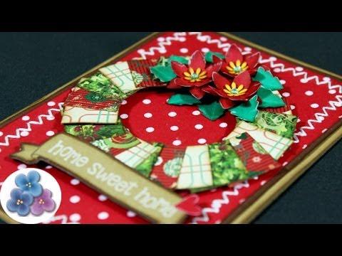 Como hacer tarjetas flor de navidad ponsetia christmas - Manualidades tarjeta navidena ...