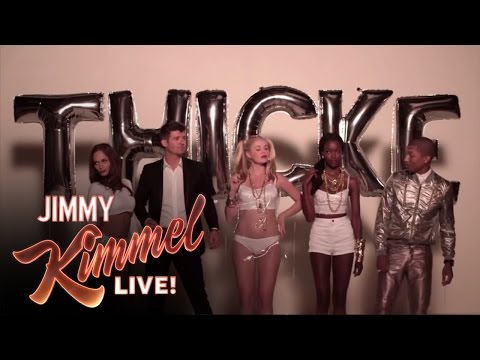 "Jimmy Kimmel and Guillermo in ""Blurred Lines"" (feat. Robin Thicke and Pharrell)"