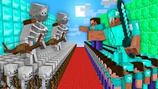 NOOB vs PRO Minecraft: GIANT SKELETON MONSTERS ATTACK NOOB AND PRO ARMY! 99% trolling