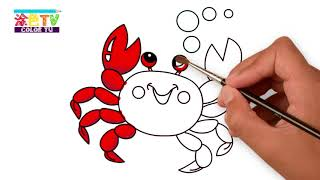 Creative Colouring Book ❤Mr  Big Crab   Play on the Beach❤ Painting and Coloring for Kids  Lear