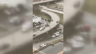 Car slides down icy ramp in Knoxville