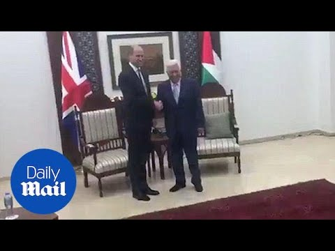 Historic moment Prince William shakes hands with President Abbas - Daily Mail