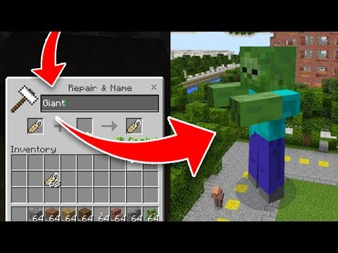How to Spawn SECRET GIANT MOBS in Minecraft Pocket Edition! (Nametag Addon)