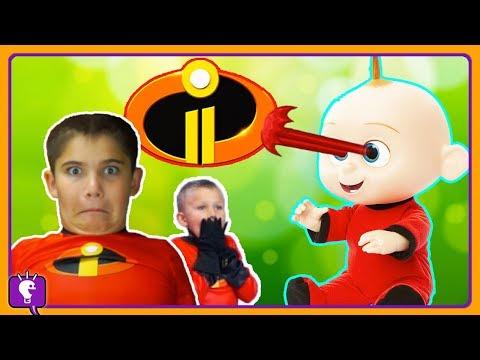 We BABYSIT JACK JACK! Laser Eyes With Incredibles 2 By HobbyKidsTV