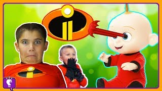 We BABYSIT JACK JACK! Laser Eyes with Incredibles 2 by HobbyKidsTV