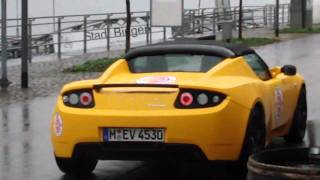 YELLOW Tesla Roadster Sport CLOSER LOOK and Drive by!!