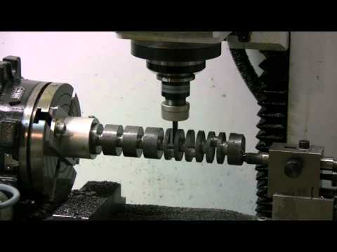 Boxer 6 cylinder model engine crankshaft machined on Golmatic CNC mill - HD video