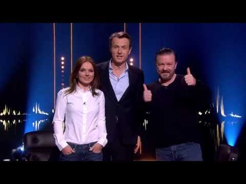 Geri Halliwell, Ricky Gervais and Fredrik Skavlan recording a trailer