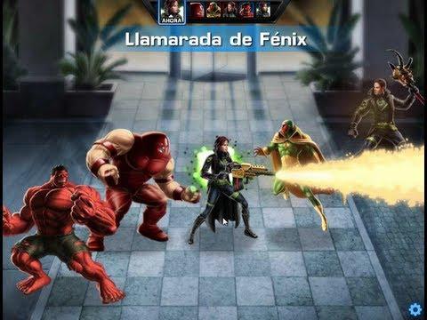 Usando Llamarada de Fenix y mostrando los isos que uso en cada personaje de Marvel Avengers Alliance