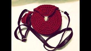 Hướng dẫn móc túi sợi vải - How to crochet a cloth handbag (P2 móc hông túi và nắp túi)