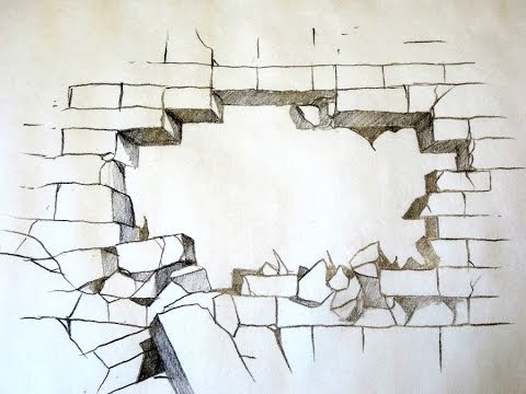 How To Draw A Broken Brick Wall YouTube