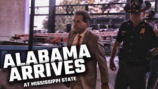 Watch Alabama arrive among Bulldog fans at Mississippi State University