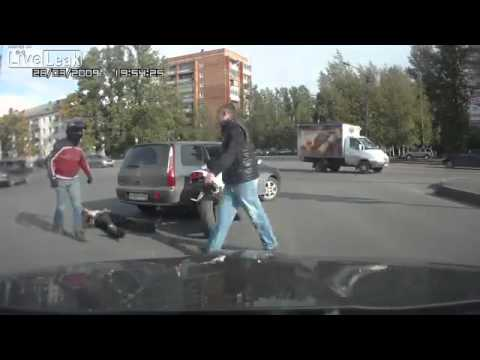 Hilarious Road Rage Fight - Russia