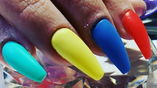 Acrylic nail tutorial   rainbow  colors   Google nails