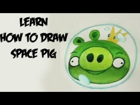 Learn How to draw Space Pig - Angry Birds Space (Real Time)