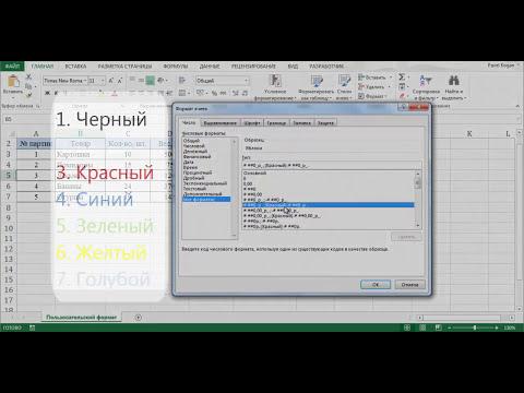 Пользовательский формат в Excel (Маски формата)