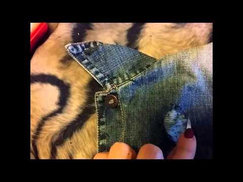 Как сделать  потертости и заклепки на джинсовке