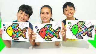 KuMin Kids Go To School Learn Coloring Cute Fish at Classroom Funny