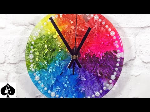 "Alcohol Inks in Epoxy Resin - The Ultimate Guide to Timing plus GIANT 8"" Rainbow Petri Dish Clock!"
