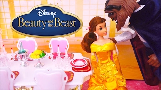 Belle Makes Dinner for Beast ! Toys and Dolls Fun with Beauty & the Beast Deluxe Set | SWTAD
