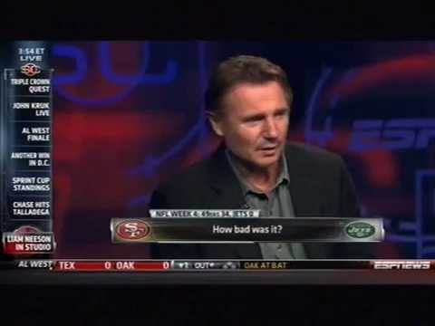 Liam Neeson Swears Live on Sportscenter (Better Quality, Includes Tebow Question)