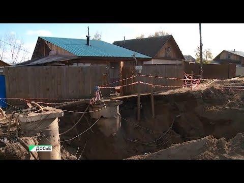 Огромную яму в районе Зелёного клина в Бийске зарыли спустя месяц (19.10.18г., Бийское телевидение)
