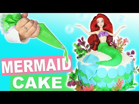 How To Make Homemade Princess Ariel Little Mermaid Ocean Cake For Kids   Decorating With Frosting