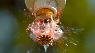 How a Fire Sprinkler Works at 100,000fps - The Slow Mo Guys