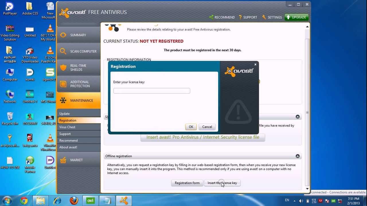 Avast Anti-Virus 2013 Serial Key Valid up to 2038. 100% ...