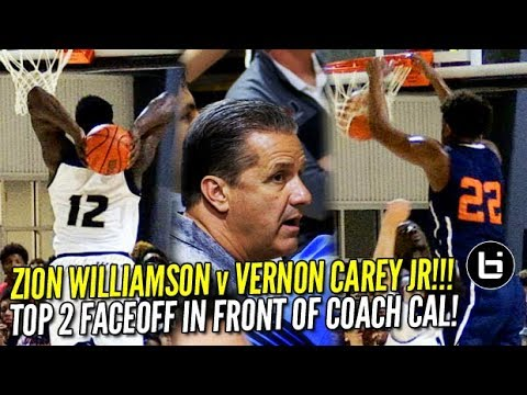 Zion Williamson v Vernon Carey Jr: Top 5 Prospects Battle in Front of Coach Cal! Game Highlights!