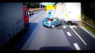 Horror Brutal Deadly accident Car vs 2 Trucks Fatal Live Crash +18 Never seen a Crash like this +18