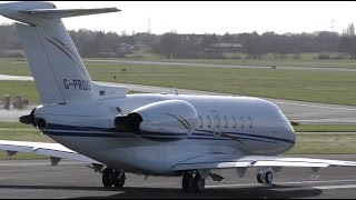 Hawker 4000 Horizon G-PROO - Windy take off - Gloucestershire Airport