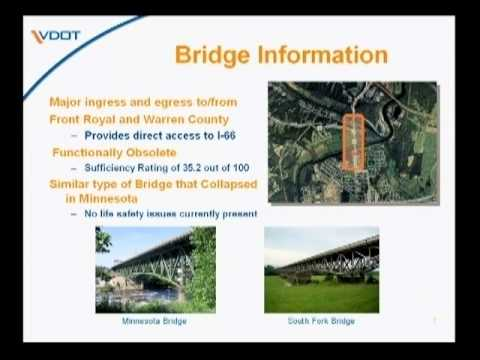 A presentation about the South Fork Bridge Replacement Project, the intersection of Route 55 and Route 340/522 in Front Royal. Questions? Comments? http://tinyurl.com/ygxglh3. Visit http://www.virg...
